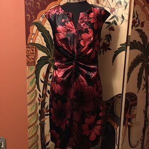 Connected Apparel Dresses & Skirts - Classy Satin Floral Printed Dress💋💋💋