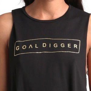 Neoclassics Tops - GOALDIGGER black sleeveless w gold foil letters.