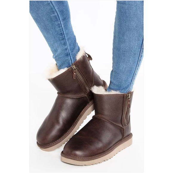 fb7a285936e UGG Classic Mini Double Zip Chestnut Leather Boots