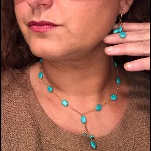 Jewelry - 14k gold and turquoise necklace and earrings set