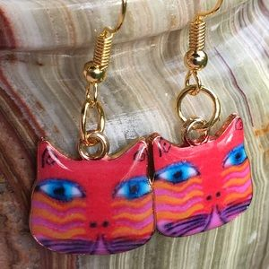 Colorful Enameled tiger  striped cat earrings