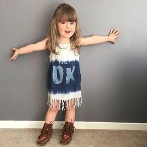 Other - Boutique Toddler T-Shirt Fringe Dress HEY ITS OK