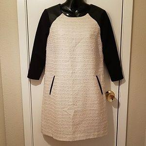 Moulinette Souers Anthropologie Cream Tweed Dress