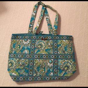 AUTHENTIC Vera Bradley green and blue  tote bag