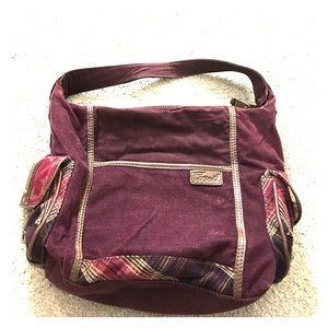 Fossil Handbags - Fossil maroon brown fabric hobo Med sz