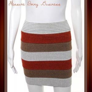 Pleasure Doing Business Dresses & Skirts - PLEASURE DOING BUSINESS Brown/Orange Striped Skirt