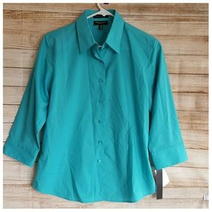 Foxcroft Tops - Foxcroft shirt shaped fit wrinkle free turquoise 6