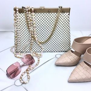 Vintage Handbags - Whiting & Davis White Mesh HandBag