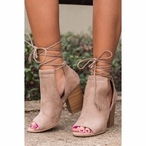 Fabfindz Shoes - Taupe Side Cut Out Lace Up Booties