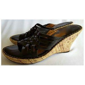 Born Drilles sandals slides platform wedge leather