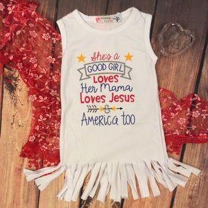 Other - Boutique Toddler Girl T-Shirt Fringe Dress