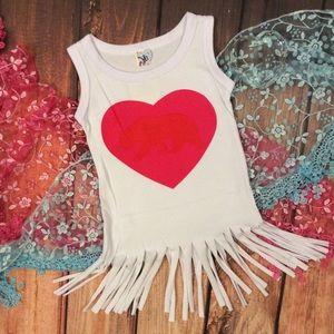 Other - Boutique Toddler Girl T-Shirt Heart Fringe Dress