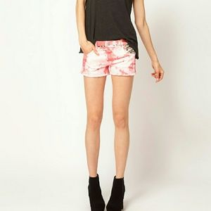 TEXTILE Elizabeth and James Pants - Elizabeth and James Pink Tie Dye Studded Shorts