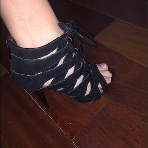 Anne Michelle Shoes - Black Lace Up Heels
