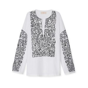 Tory Burch White Poplin Blouse Top Embroidered