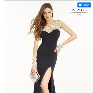 Alyce Paris - Size 2 - Black, Crystal/Pearl Dress