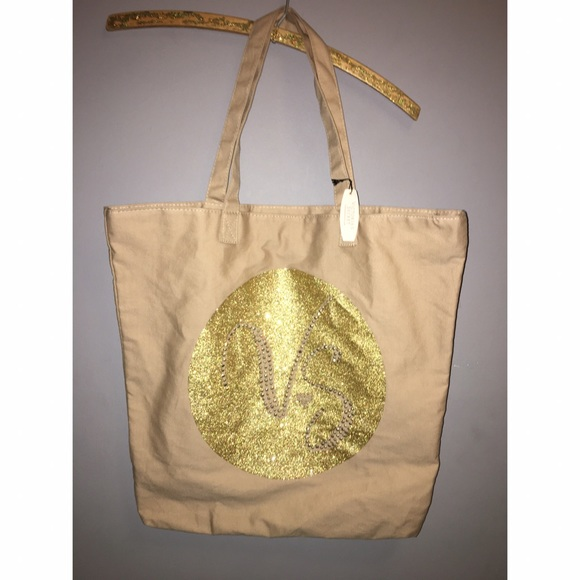 Victoria's Secret Handbags - NEW Victoria's Secret Gold Canvas Tote