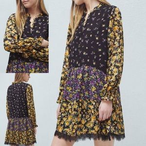 Mango Floral Long Sleeve Peasant Dress