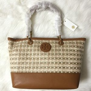Tory Burch Marion Woven Straw Gold East West Tote