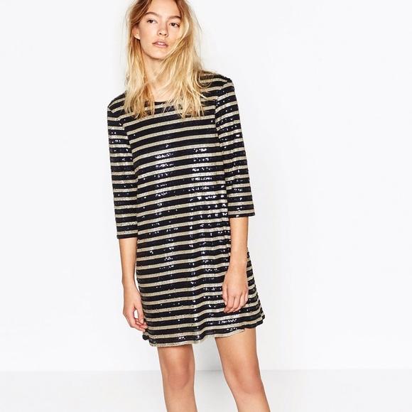 9467d59c NWOT Zara Striped Sequin Dress. M_58c38cfc56b2d6a48503249d