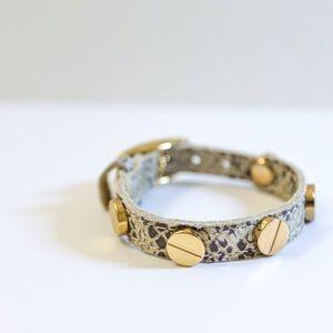 CC Skye Jewelry - CC SKYE - Python Embossed Gold Screw Bracelet