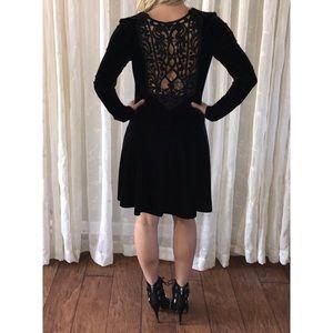 Jessica McClintock Long Sleeve Black Velvet Dress