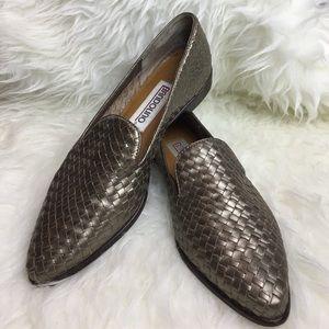 Pointed toe flats woven Metallic leather boho 5.5