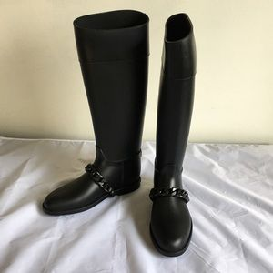 NEW Givenchy Eva Chain Rain Boots Black Rubber 37