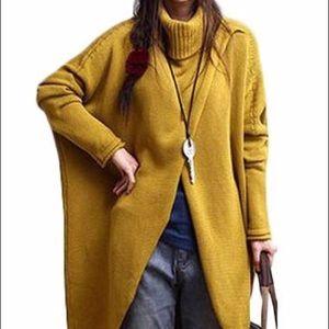 Plus size front slit turtleneck sweater