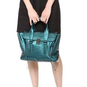 3.1 Phillip Lim Handbags - 3.1 Phillip Lim Medium Pashli Metallic Turquoise
