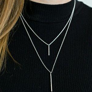 GORJANA  Jewelry - GORJANA KIERNAN DOUBLE PENDANT NECKLACE ~ SILVER
