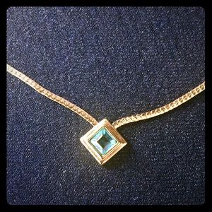 "Avon Jewelry - Gold 15"" necklace with blue stone"