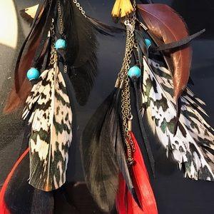 Set of 5 long hanging earrings metal hook feathers