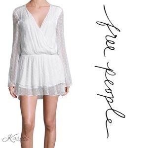 🌺Sale! FREE PEOPLE White Summer Swiss Dot Dress M