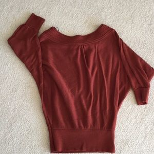 Forever 21 wide neck rust colored sweater size sm