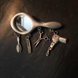 Vintage JJ Pewter-Tone Hairdresser Brooch Pin