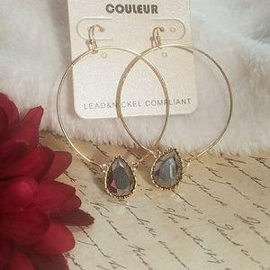 Couleur NY Jewelry - Gold Hoop Drop Earrings w/Teardrop Stone Accent