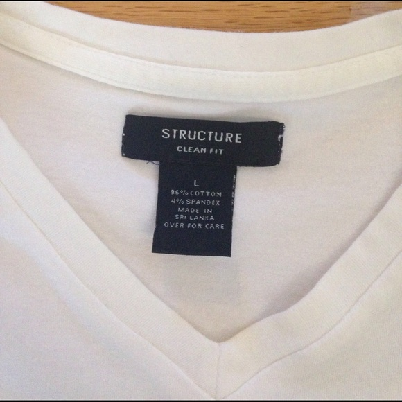 structure Other - Men's Structure Clean Fit V-Neck T, white, L