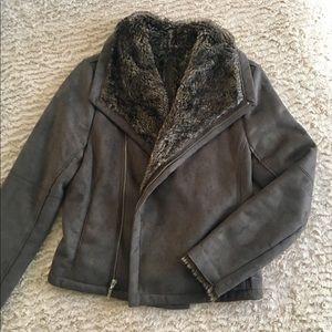Velvet Jackets & Blazers - Velvet Faux Fur Suede Moto Jacket