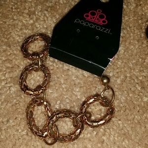 NWT gold chain metal ring adjustable bracelet