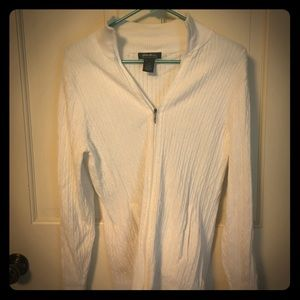 White cable knit zip up cardigan- Eddie Bauer L