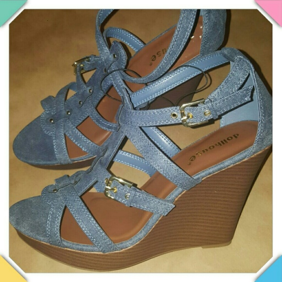 dollhouse denim wedges size 12m nwt from s