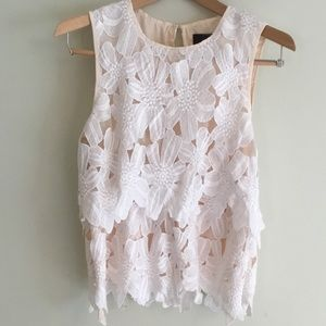 Anthropologie white lace and nude top