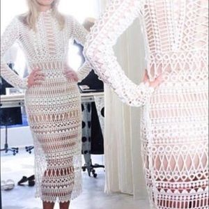 Shakuhachi Dresses & Skirts - Lace borders midi dress white