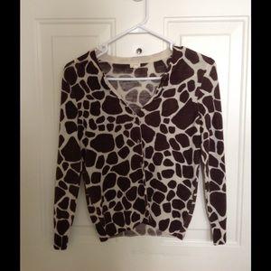 JCrew giraffe print cardigan, size small