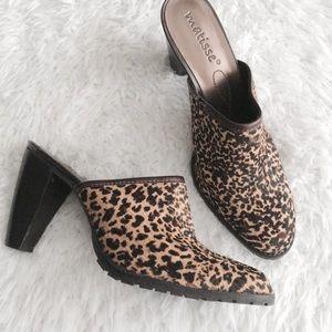 Matisse Leopard Animal Print Calf Hair Mules