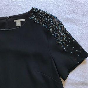 Halogen Dresses - Halogen sequin shoulder dress with pockets.