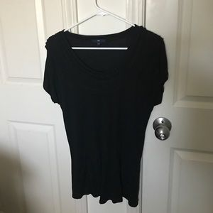 Black ruffle neckline top
