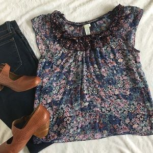 Odille mixed print cap sleeve floral ruffle top