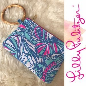 Lilly Pulitzer Wristlet Clutch with bamboo handle
